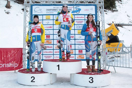 The Alpine Combined Ladies' podium, category U18, Swiss Junior Championships Speed in Crans-Montana. From the left: Thea Waldleben (SC Horw),  Lorena Käslin (Swiss champion/SC Beckenried-Klewenalp)) and Cécile Rohner (SC Flumserberg).