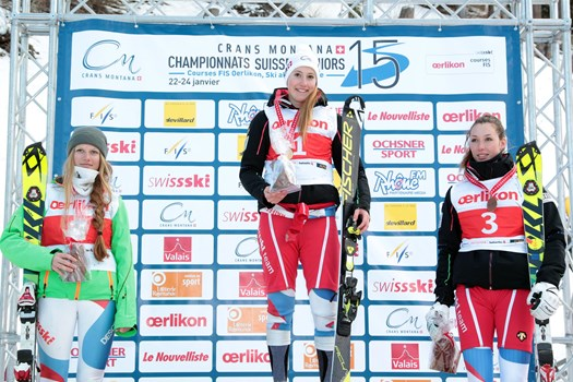 The Alpine Combined Ladies' podium, category U21, Swiss Junior Championships Speed 2015 in Crans-Montana. From the left: Meda Grand (SC Torrent Albinen), Nathalie Gröbli (Swiss champion/SC Emmetten) and Elodie Rudaz (SC Vex-les-Collons-Thyon).