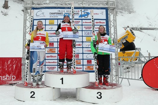 The Ladies' Downhill  podium, category U21, of the Swiss Junior Championships Speed 2015 in Crans-Montana. From the left: Medea Grand (SC Torrent-Albinen), Julie Dayer (Swiss champion/SC Hérémencia) and Nathalie Gröbli (SC Emmetten).