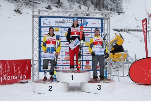 The Men's Downhill podium, category U21, of the Swiss Junior Championships Speed 2015 in Crans-Montana. From the left: Luca Beutler (SC Eggiwil), Sandro Simonet (Swiss champion/SC Lenzerheide-Valbella) and Bruno Steiner (SC Zweisimmen).