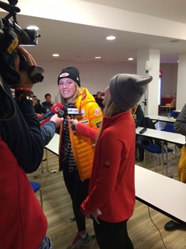 Mikaela Shiffrin: a last interview before to leave the press conference she held at the media center just upon  her arrival in Crans-Montana.