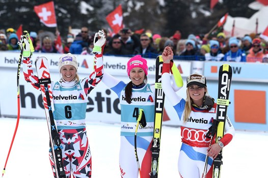 Fantastic Swiss day in Lenzerheide. From left: Michaela Kirchgasser (AUT/2nd), the winner Wendy Holdener and Lara Gut (3rd).